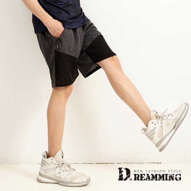 【Dreamming】雙色拼接鬆緊抽繩運動休閒短褲 透氣 輕薄(共三色)