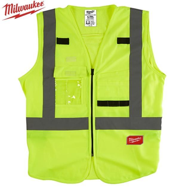 【Milwaukee 美沃奇】10口袋工程反光背心-綠色(48-73-5061、5062)