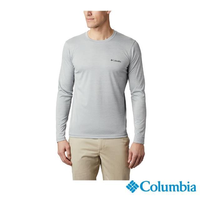 【Columbia 哥倫比亞】男款- UPF30涼感快排長袖上衣-灰色(UAE60830GY / 涼感.排汗.防曬)