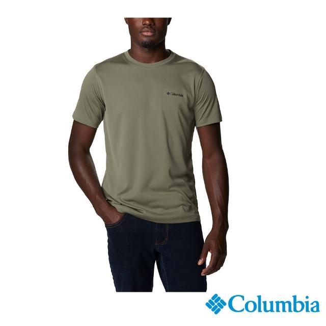 【Columbia 哥倫比亞】男款- UPF30涼感快排短袖上衣-軍綠(UAM60840AG / 涼感.排汗.防曬)