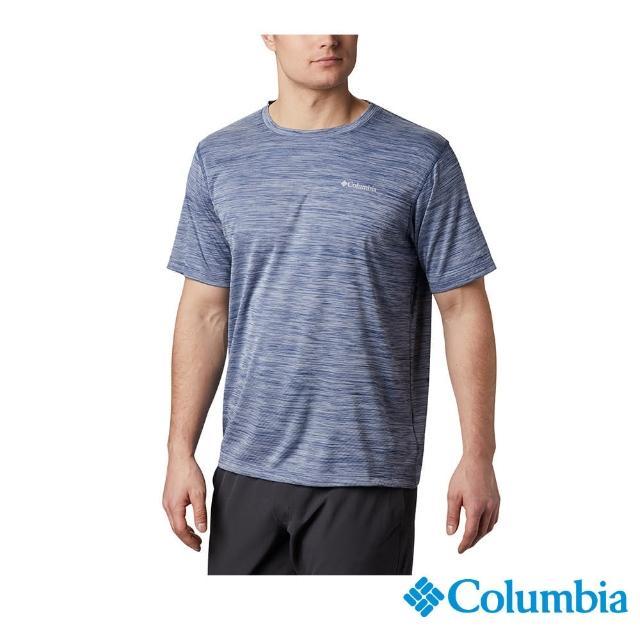【Columbia 哥倫比亞】男款- UPF30涼感快排短袖上衣-深藍(UAM60840NY / 涼感.排汗.防曬)
