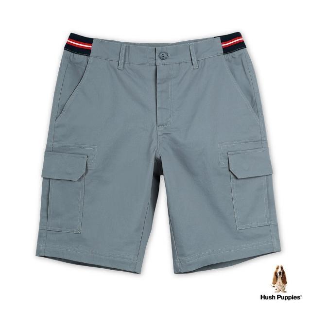 【Hush Puppies】男裝腰邊雙色織帶拼接貼袋休閒短褲(灰藍 / 13122108)