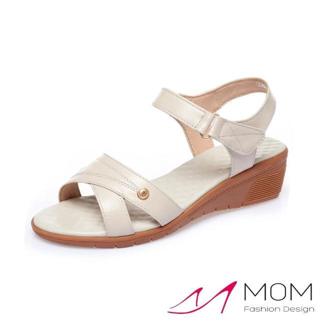 【MOM】真皮涼鞋 坡跟涼鞋/真皮細緻牛皮交叉車線金釦造型魔鬼粘舒適坡跟涼鞋(米)