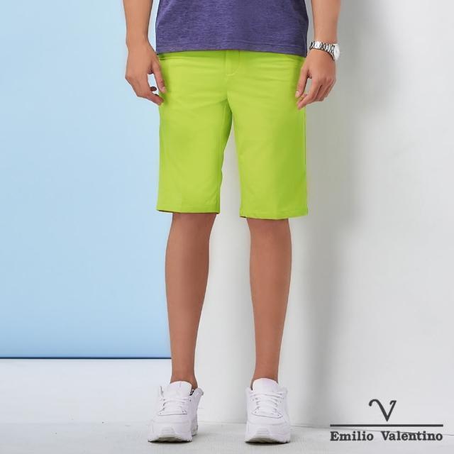 【Emilio Valentino 范倫鐵諾】男裝 經典彈力平面休閒短褲_綠(70-1C5706)