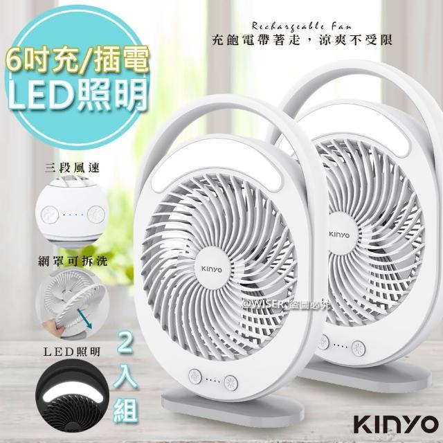 【KINYO】充插兩用6吋USB風扇DC扇/循環扇桌扇立扇 UF-890 風罩易拆洗(2入組)