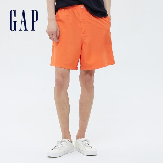 【GAP】男裝 活力亮色鬆緊運動短褲(695554-橘色)