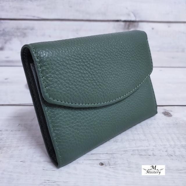 【Misstery】短夾壓扣+零錢袋短夾-綠(小牛皮短夾系列)