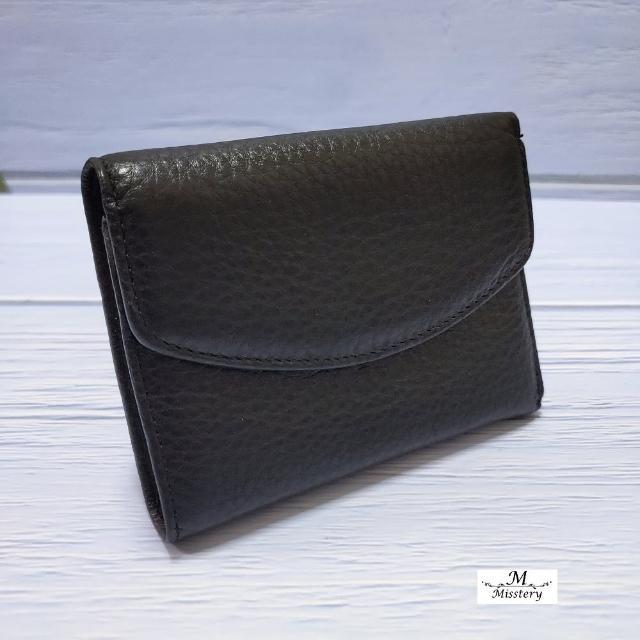 【Misstery】短夾壓扣+零錢袋短夾-黑(小牛皮短夾系列)