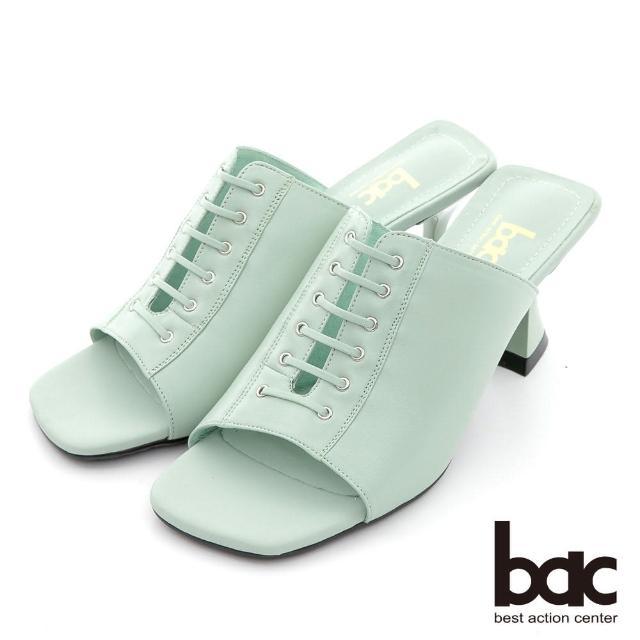 【bac】時髦深口綁帶粗跟涼拖鞋(綠色)