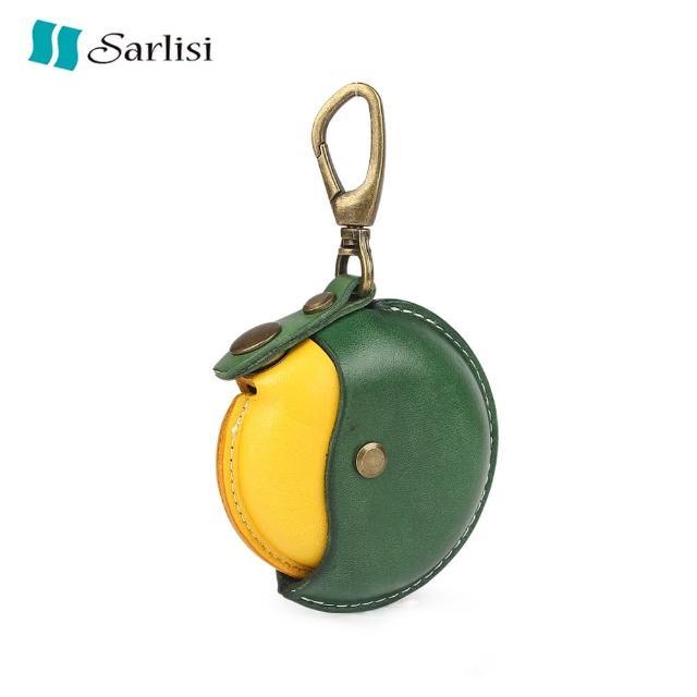 【Sarlisi】手工植鞣皮零錢包圓形真皮硬幣包頭層牛皮女士手拿包小錢包