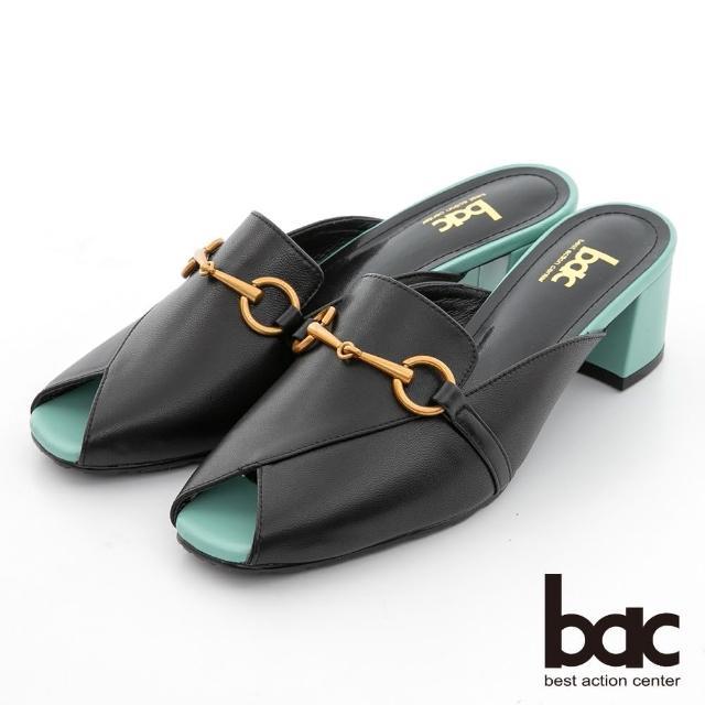 【bac】馬銜釦魚口後空穆勒鞋(黑色)