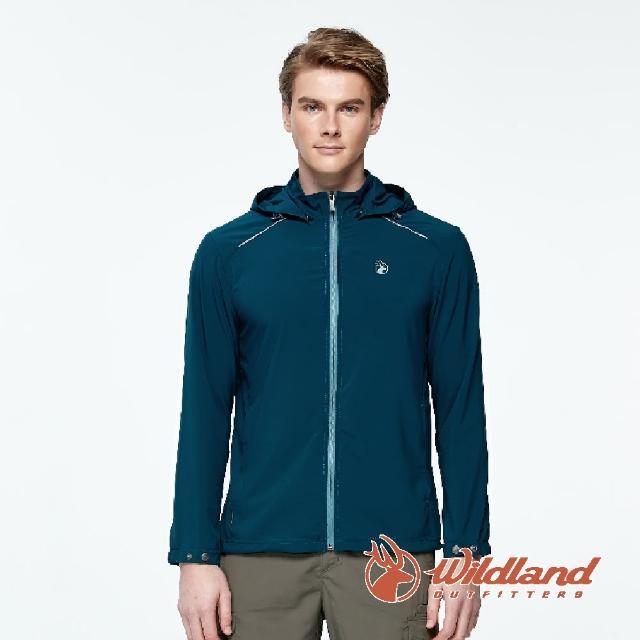 【Wildland 荒野】男 彈性透氣抗UV輕薄外套-孔雀藍 0A91906-134(連帽外套/防曬外套/薄外套)