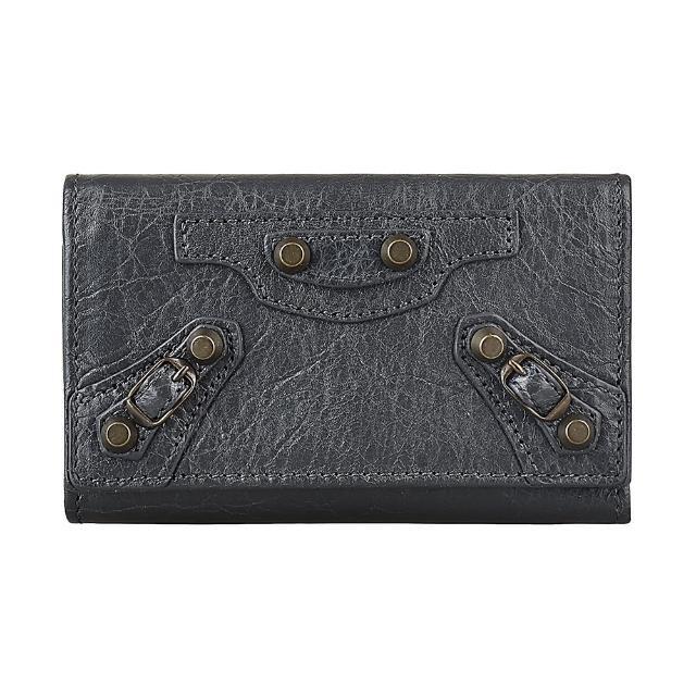 【Balenciaga 巴黎世家】BALENCIAGA 巴黎世家仿舊銅釦設計小羊皮六鉤三折釦式鑰匙包(深灰)