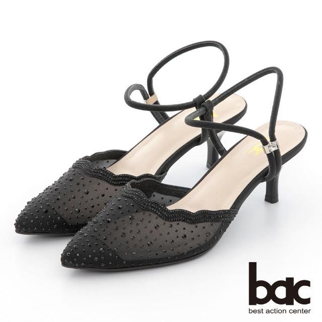 【bac】荷葉透膚感水鑽點綴後空高跟鞋(黑色)