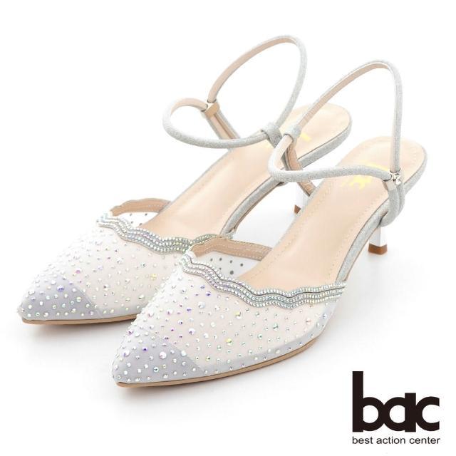 【bac】荷葉透膚感水鑽點綴後空高跟鞋(銀白)