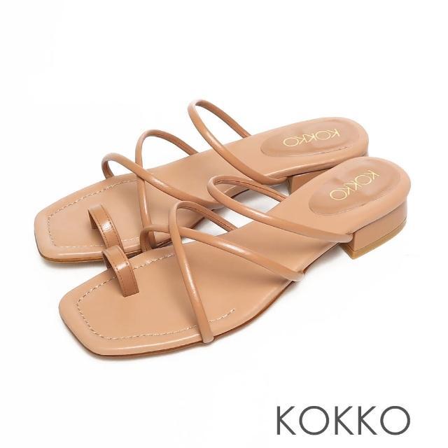 【KOKKO 集團】女神風柔軟綿羊皮細條夾腳平底涼拖鞋(焦糖色)