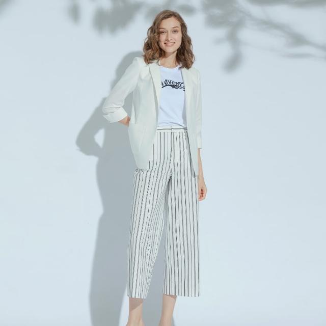 【AZUR】時尚OL經典條紋寬褲