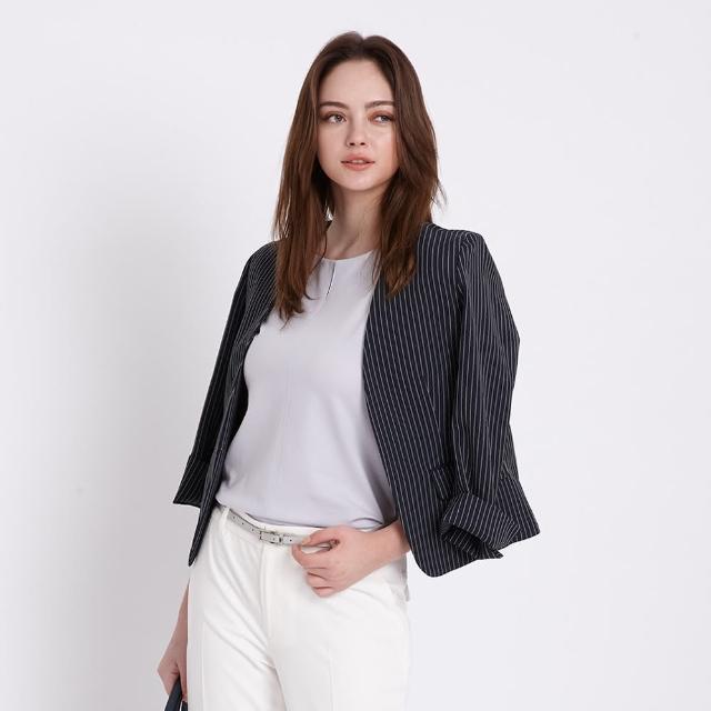 【AZUR】都會女伶率性條紋西裝外套-白