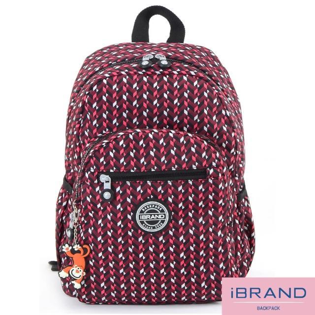 【i Brand】趣味派對尼龍口袋後背包(錯視方塊)