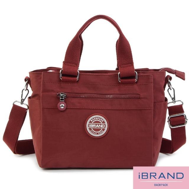 【i Brand】輕盈多隔層素色防潑水尼龍側背包(酒紅色)