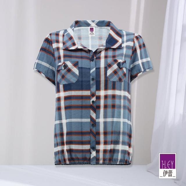 【ILEY 伊蕾】知性高含棉格紋襯衫1212471504(藍)