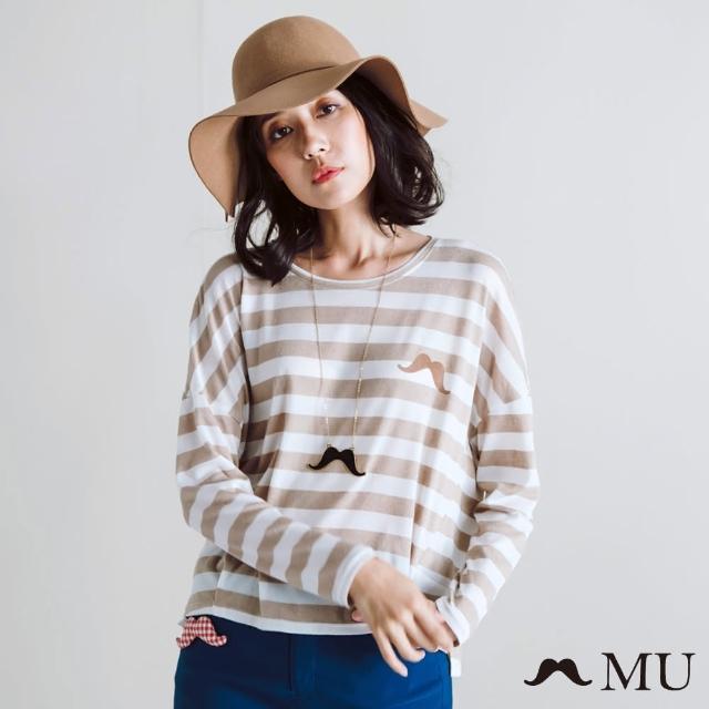 【maru.a】MU 小鬍子基本款橫條紋長袖T-shirt(卡其)