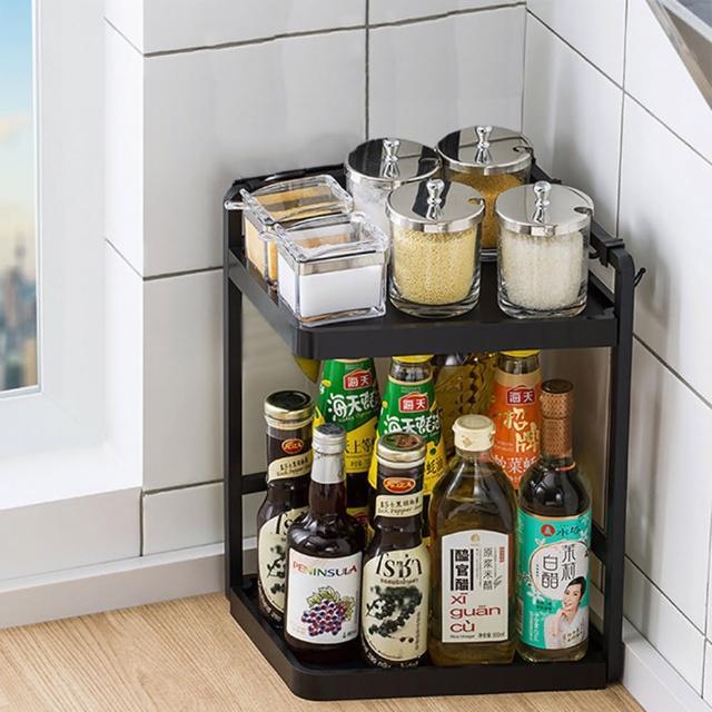 【HappyLife】多功能廚房轉角架 27長2層 Y10154(桌上整理架 檯面整理架 餐具架 調味料收納 廚房收納架)