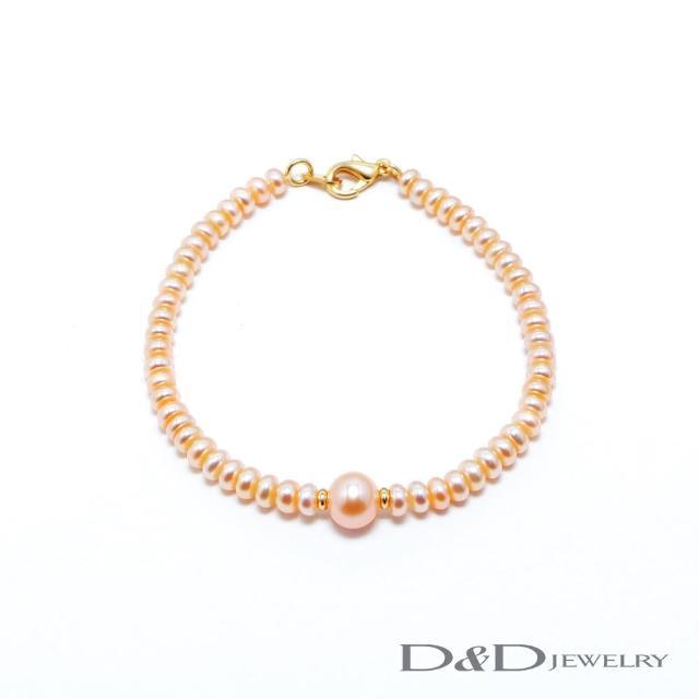【D&D JEWELRY】日系優雅天然珍珠手鍊(橘珠)