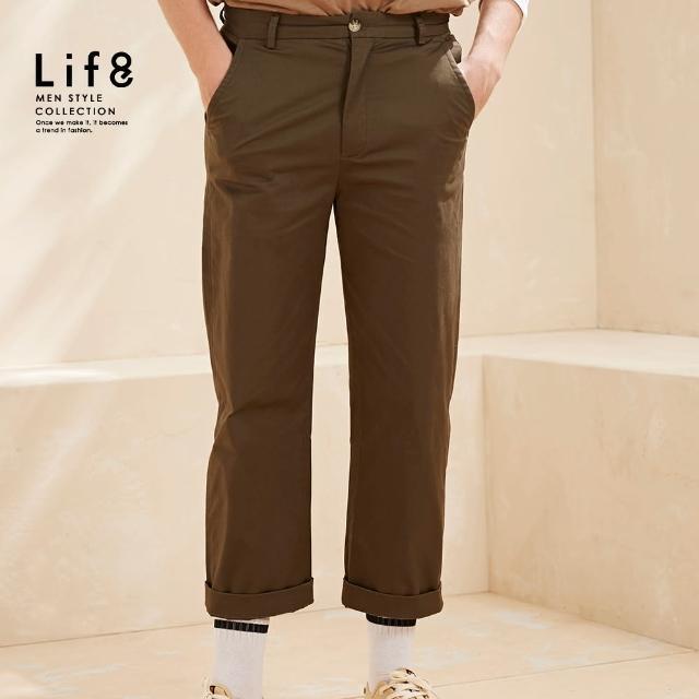 【Life8】Casual 舒適簡約 基本寬版長褲-軍綠(02605)