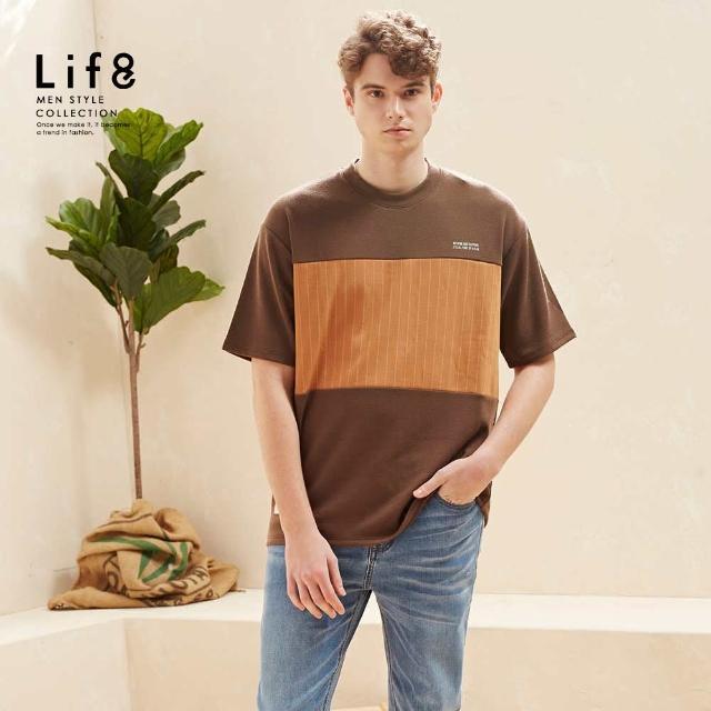 【Life8】Casual 條紋拼接 高磅短袖上衣(10509)