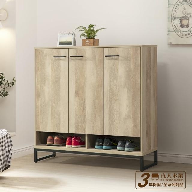 【直人木業】TINA復古木120公分鞋櫃