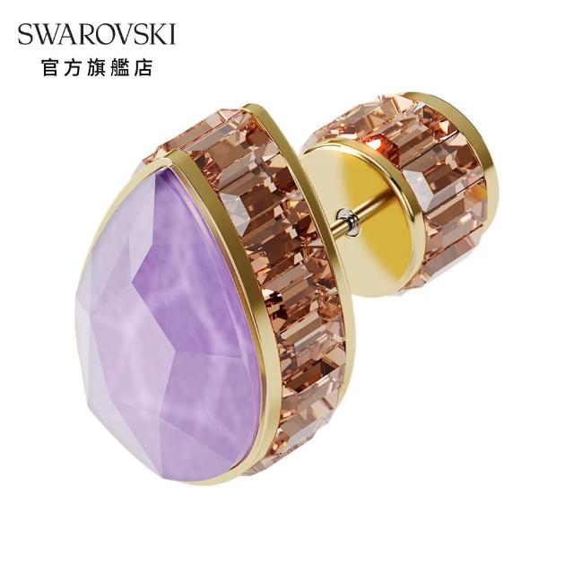 【SWAROVSKI 施華洛世奇】ORBITA 淡金色漸層水晶單顆水滴形耳環(ORBITA 單顆耳環)