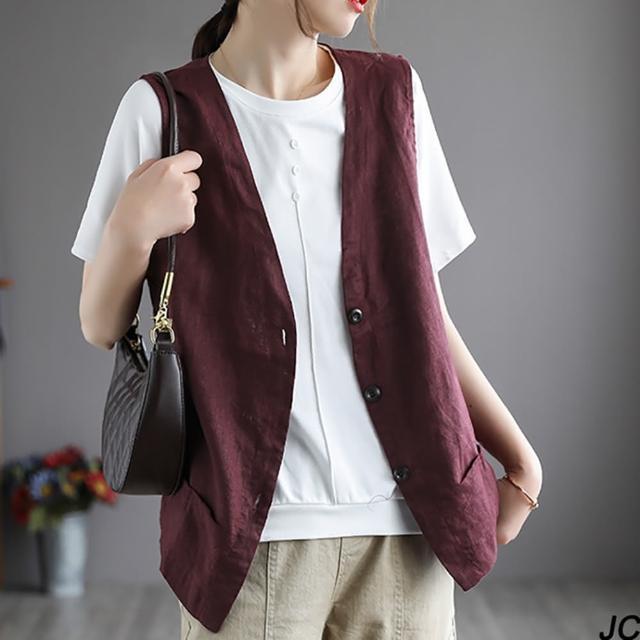 【JC Collection】優質透氣棉麻單排釦雙口袋設計寬鬆舒適背心(黑色、麻色、紫紅色)