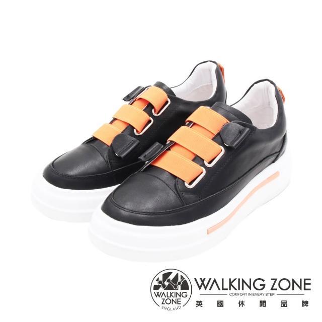 【WALKING ZONE】女 潮流彈力繃帶休閒鞋 女鞋(黑)