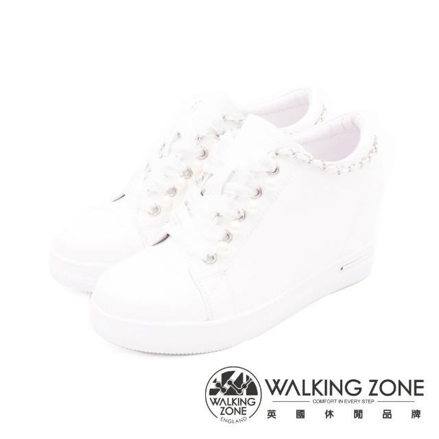【WALKING ZONE】女 鍊式休閒心機增高女鞋(白)
