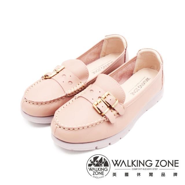 【WALKING ZONE】女 MIT真皮雙釦造型厚底休閒鞋 女鞋(粉)
