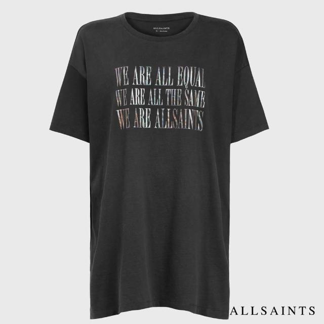 【ALLSAINTS】EQUALITY 個性印花舒適棉質短袖T恤-黑(舒適版型)