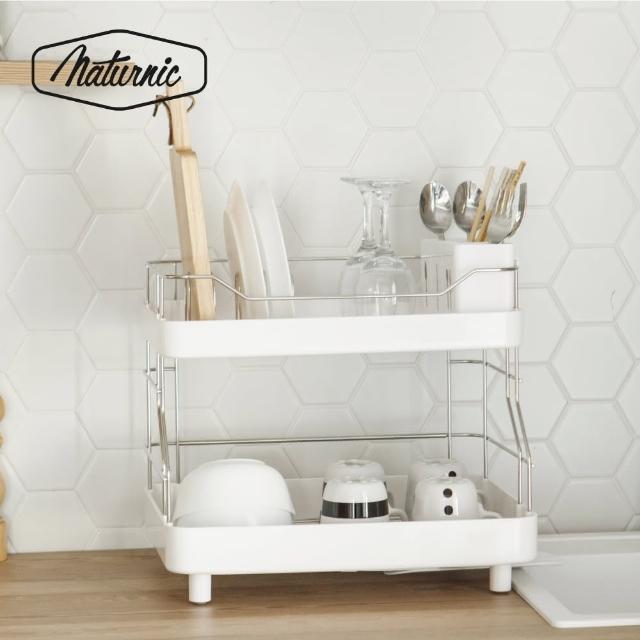 【韓國Naturnic】時尚雙層餐具瀝水架/碗盤架