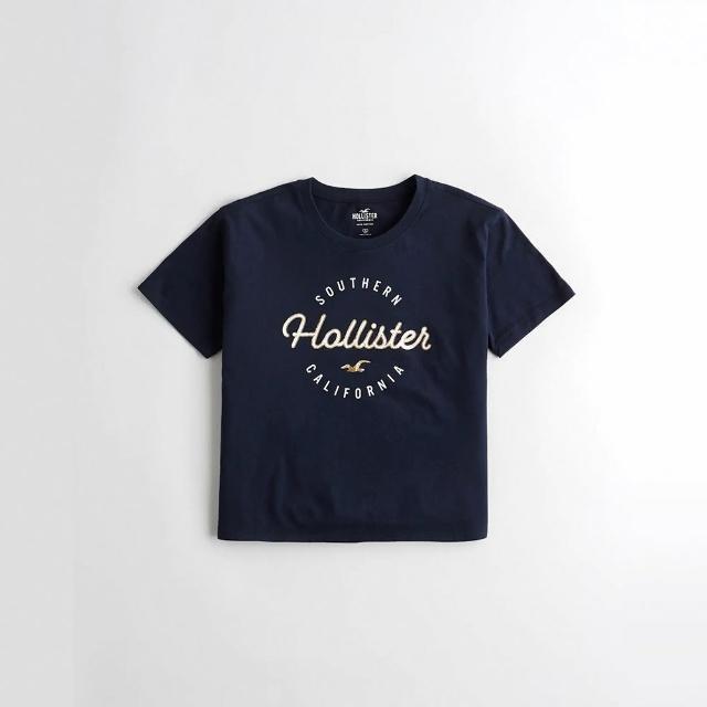 【HOLLISTER Co】Hollister 海鷗 經典印刷文字短版圖案短袖T恤-女-深藍色