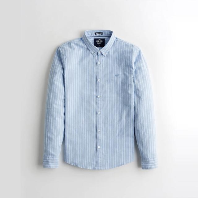 【HOLLISTER Co】Hollister 海鷗 經典刺繡海鷗長袖襯衫-藍白直條紋色