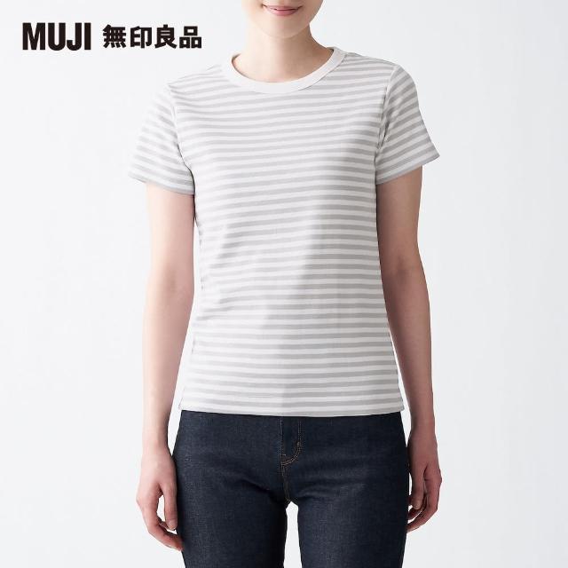 【MUJI 無印良品】女有機棉不易汗染針織圓領橫紋短袖T恤(共4色)