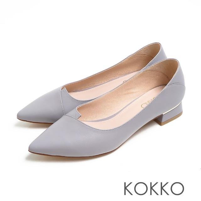 【KOKKO 集團】經典尖頭素面剪裁羊皮方粗跟鞋(薰衣草紫)