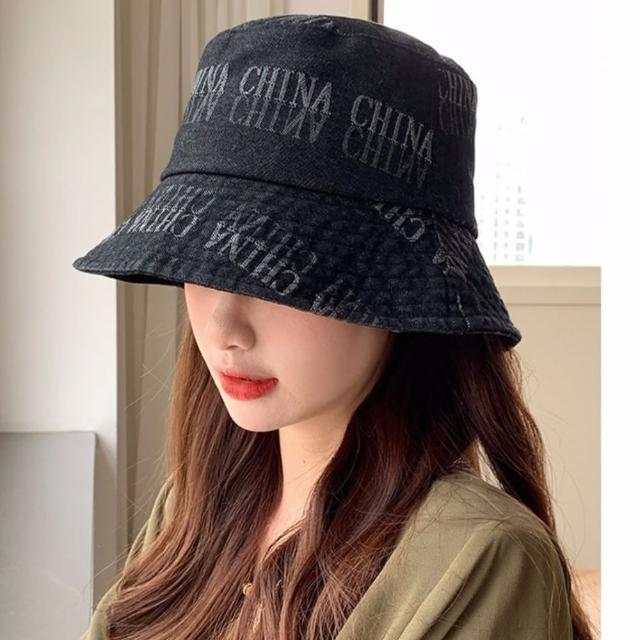 【JC Collection】時尚牛仔布英文字母圖案日系防曬遮陽帽(淺藍、黑)