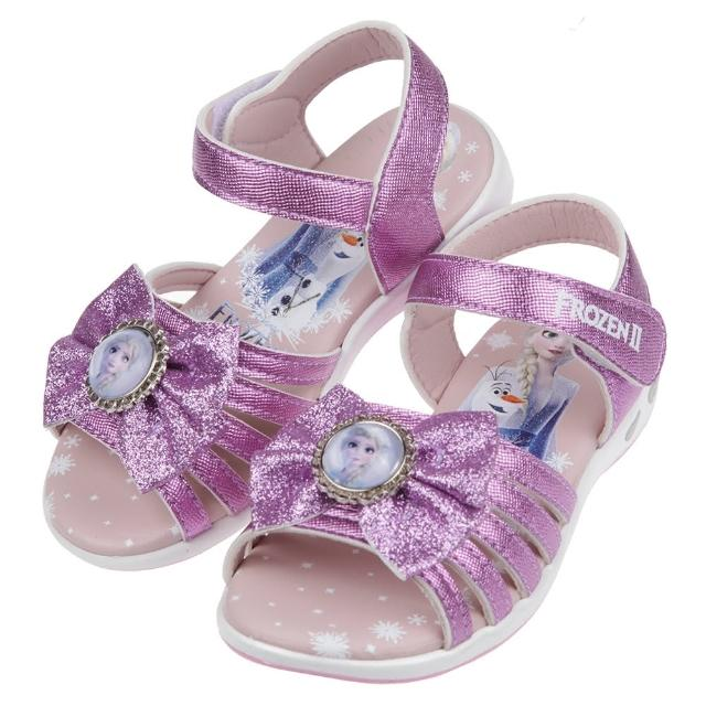 【布布童鞋】Disney冰雪奇緣艾莎雪寶蝴蝶結亮晶晶紫紅色兒童電燈涼鞋(B1G127F)