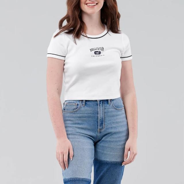 【HOLLISTER Co】Hollister 海鷗 經典印刷文字短版圖案短袖T恤-女-白色