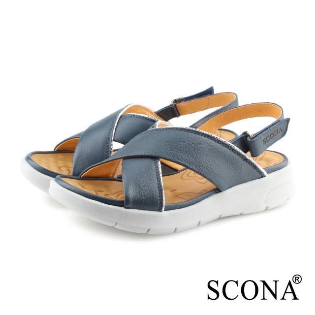 【SCONA 蘇格南】全真皮 輕量舒適加州涼鞋(藍色 31121-1)