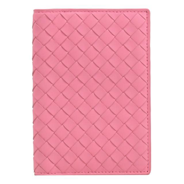 【BOTTEGA VENETA 寶緹嘉】經典手工編織小羊皮信用卡護照夾(粉)