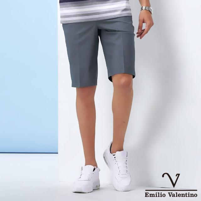 【Emilio Valentino 范倫鐵諾】男裝 雅致平面休閒短褲_灰綠(70-1C5705)
