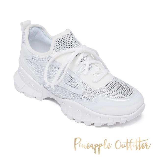 【Pineapple Outfitter】TACI 潮流亮鑽厚底綁帶老爹鞋(白色)