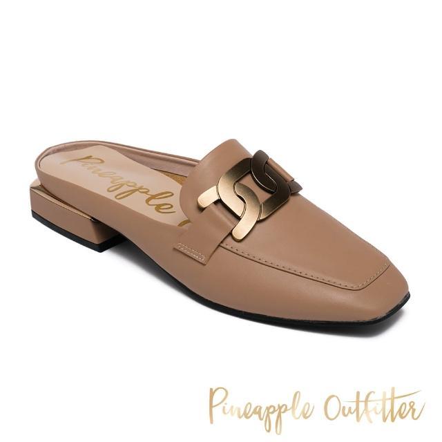 【Pineapple Outfitter】REVA 金屬飾釦方頭低跟穆勒拖鞋(棕色)